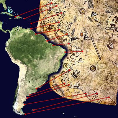 El origen de Cristóbal Colón, un misterio... por poco tiempo - Página 2 600px-piri_reis_map_interpretation1